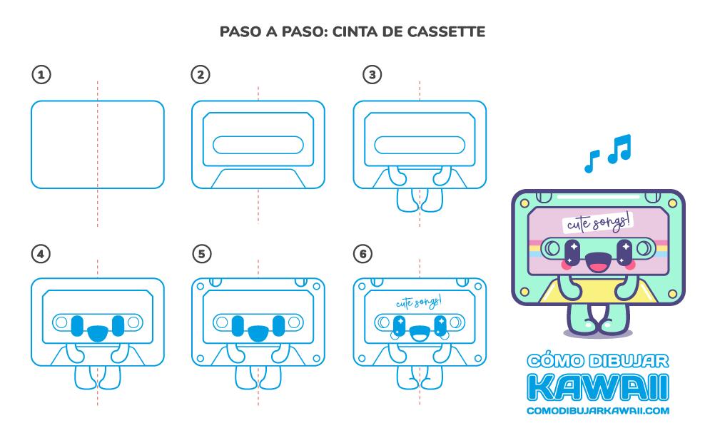 Cómo dibujar una cinta de cassette Kawaii