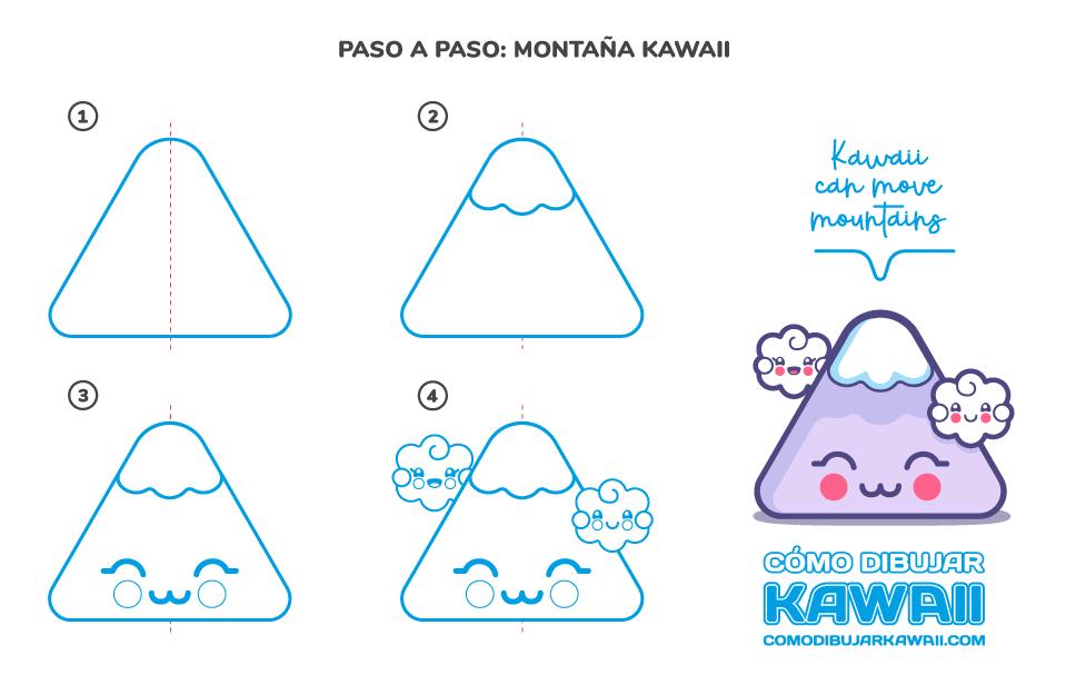 Cómo dibujar una Montaña Kawaii