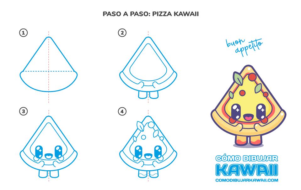 Cómo dibujar una Pizza Kawaii
